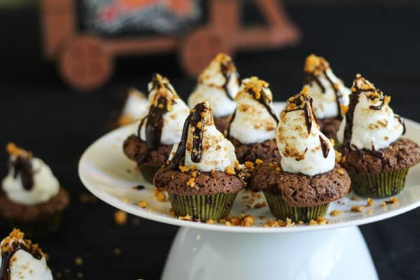 Smores Halloween browned butter chocolate cupcakes