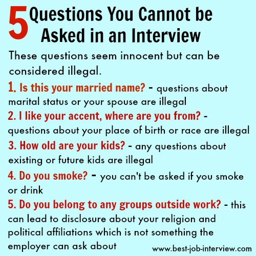 Illegal Interview Questions - what job candidates can\u0027t be asked