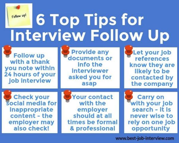 Job Interview Follow Up Help - how to follow up on a job interview
