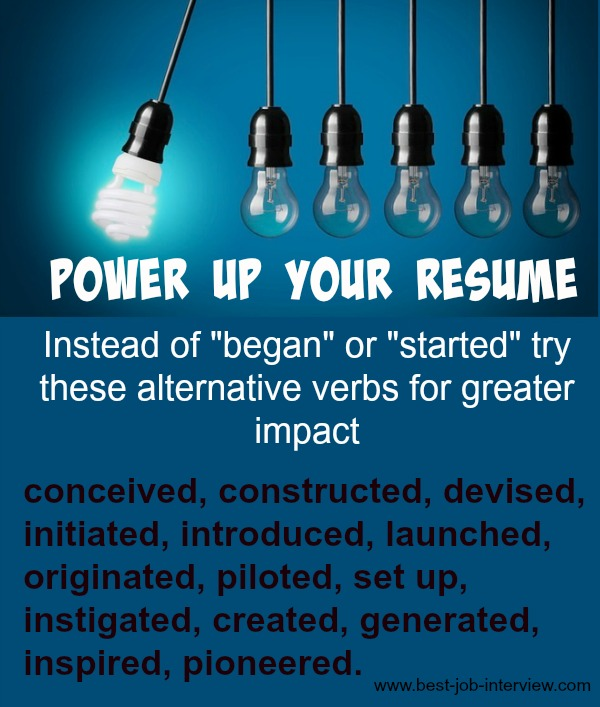 Powerful Resume Action Words - verbs to use in a resume