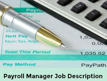 Sample Payroll Manager Job Description