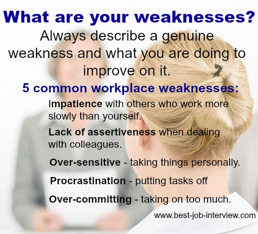 Interview Questions Weaknesses - example of weakness of a person