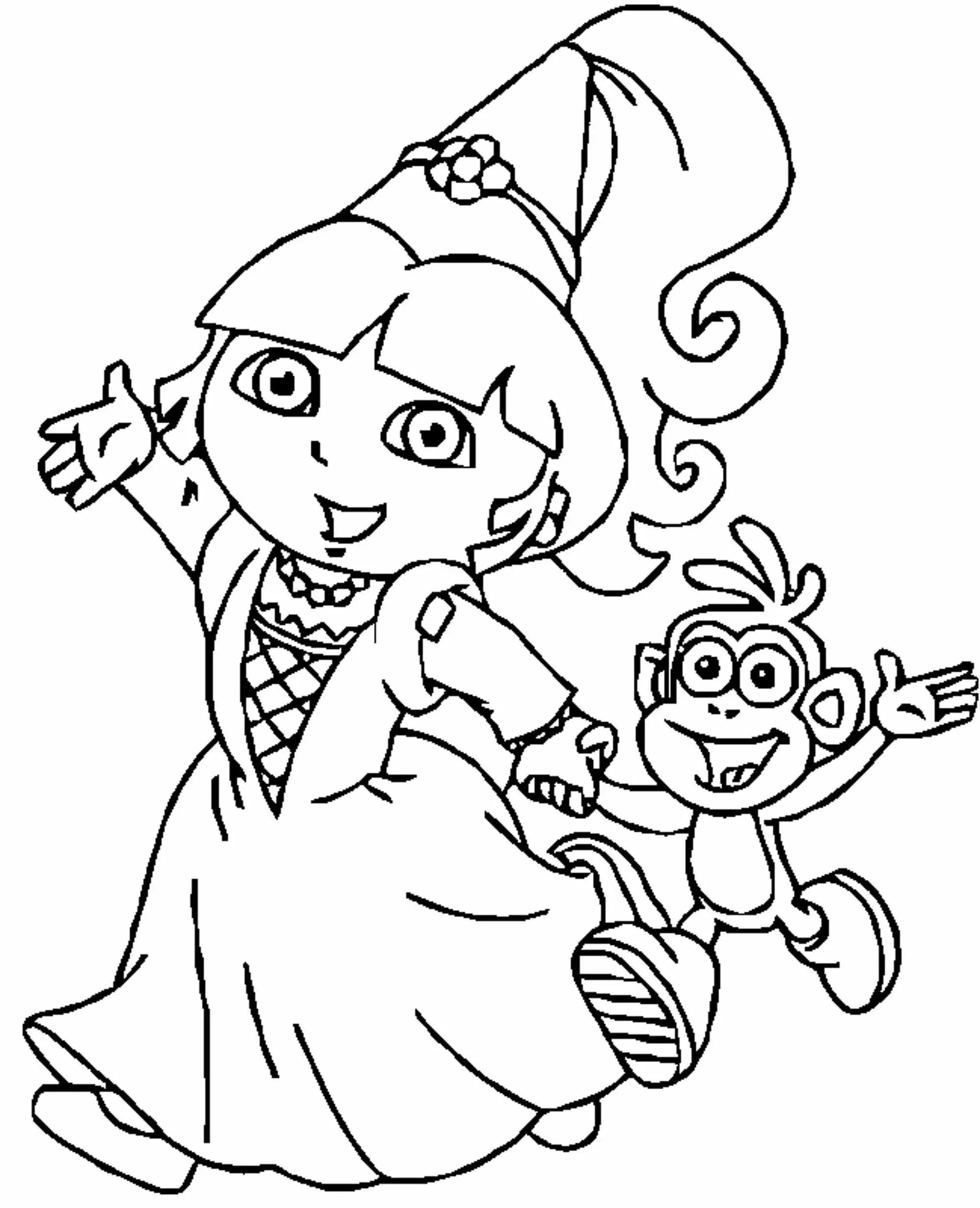Princess Dora The Explorer Coloring Page Wecoloringpagecom