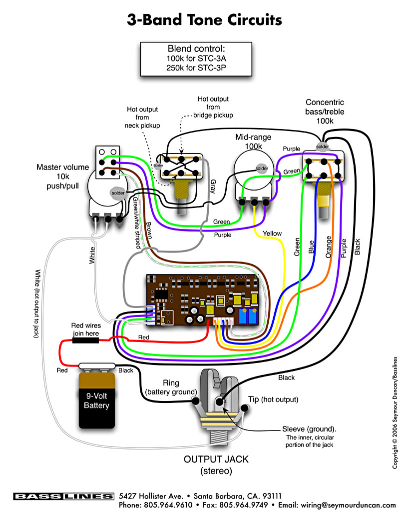 three pot bass wiring diagram