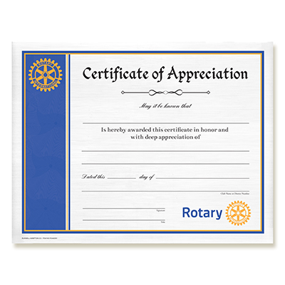Rotary Certificate of Appreciation - Rotary Club Supplies - Russell