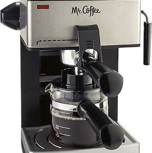 Mr. Coffee - Steam Espresso Machine - Black/Silver