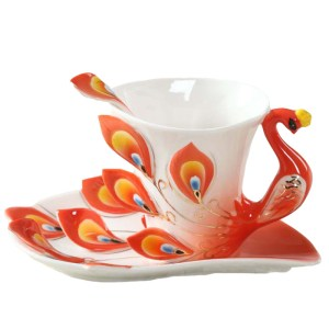 Enamel Peacock Coffee Mug Tea Cup Set Bone China Mugs and also Cups Creative Drinkware INVENTORY-CLEARANCE SALE!