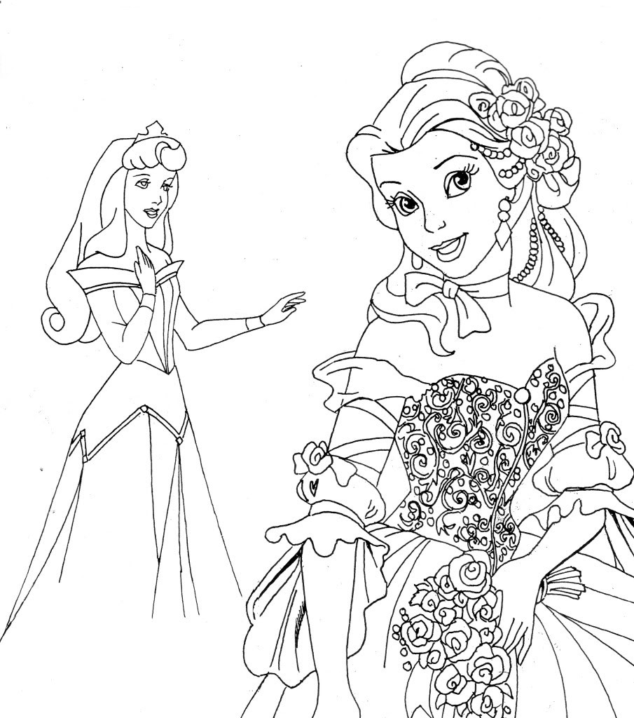 Coloring pages disney printable - Disney Princesses Printable Coloring Pages