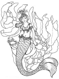 Mermaid Coloring Pages For Adults Coloring Pages