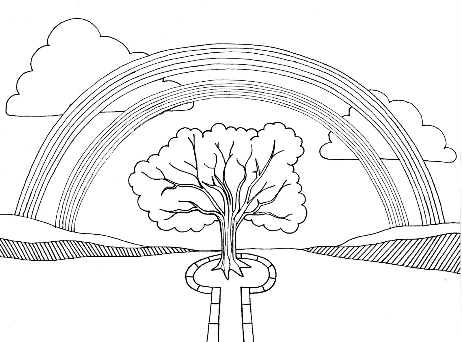 Rainbow coloring page for kids