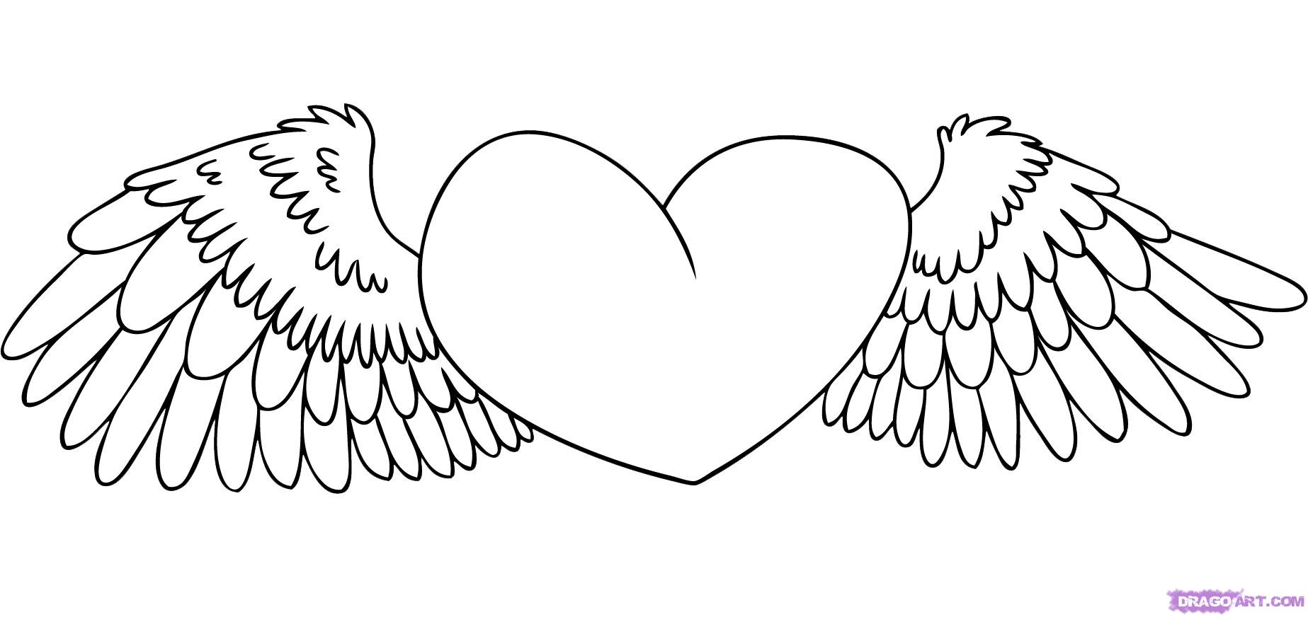 Hearts With Wings Coloring Pages - Eskayalitim