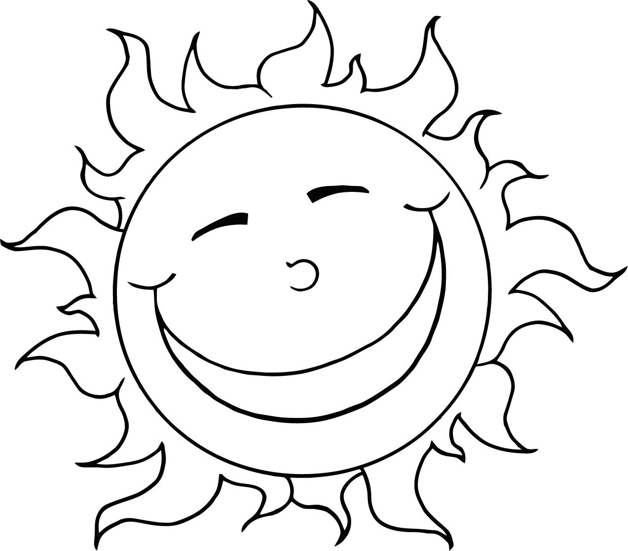 Coloring page of the sun