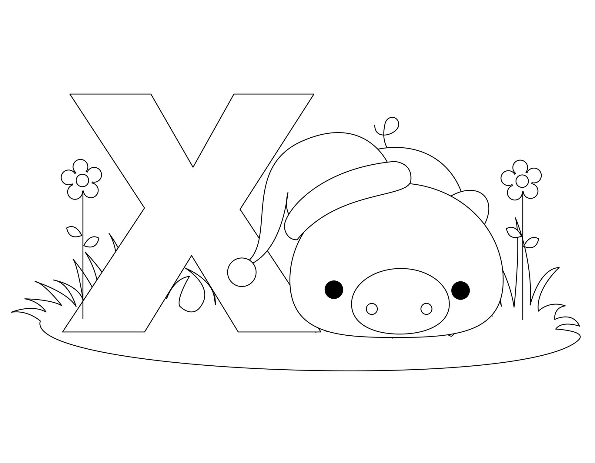 coloring pages letter x download