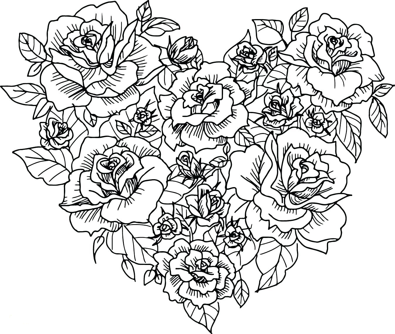 coloring pictures of flowers and hearts