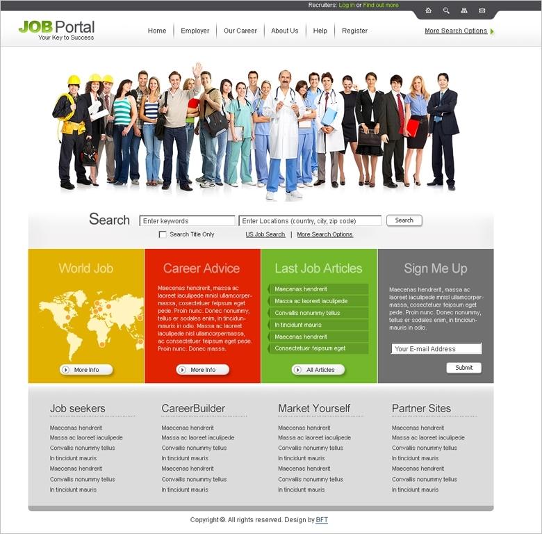 Free Job Portal Website Template