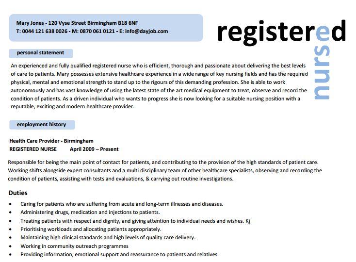 resume template registered nurse
