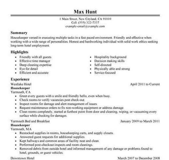 resume for housekeeping job