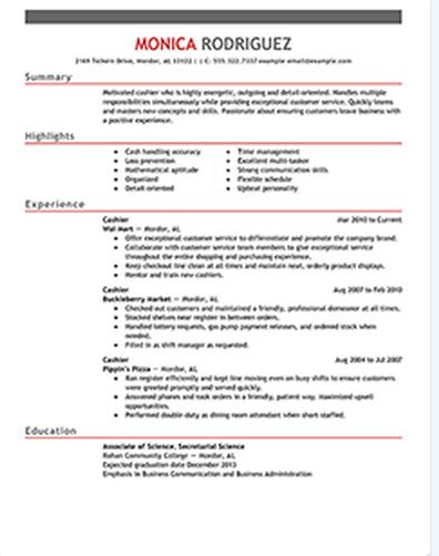 Cashier Resume with Samples