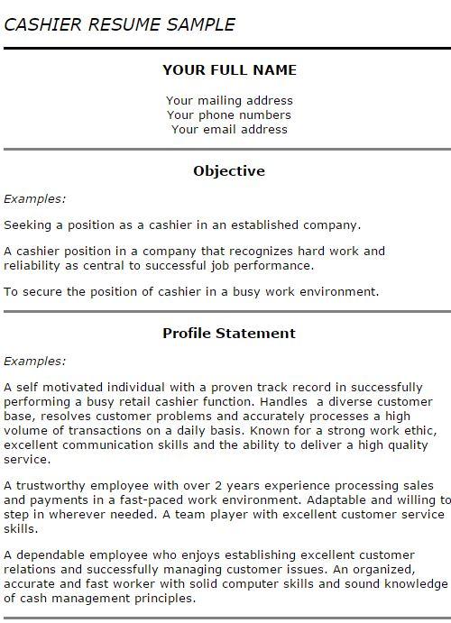 resume of a cashier - zrom