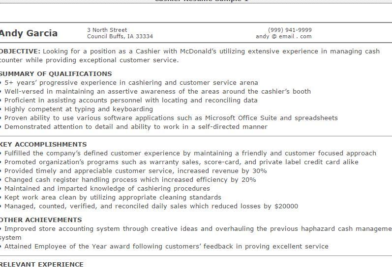 Cashier Resume with Samples - sample cashier resume skills