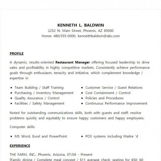 sample resume restaurant manager - Thevillas - sample resume for restaurant manager