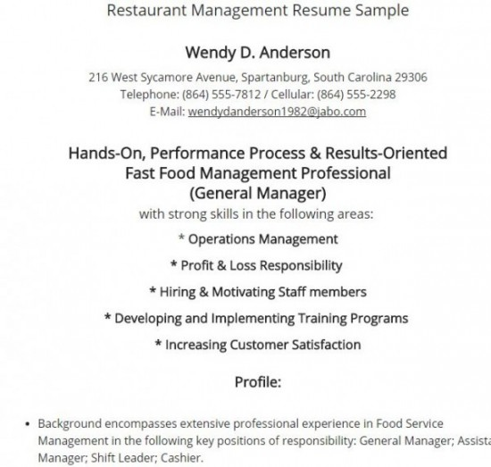 7 Best Restaurant Manager Resume - Restaurant Management Resume