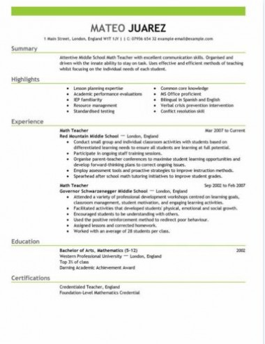 Teacher Resume Templates Professional Special Education Preschool - teachers resume template