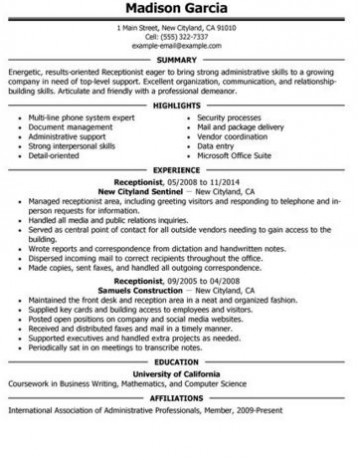 Receptionist Resume and Skills Guide - skills for receptionist resume
