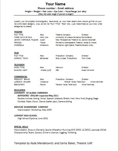 Acting Resume Template and Tips - acting resume template 2016