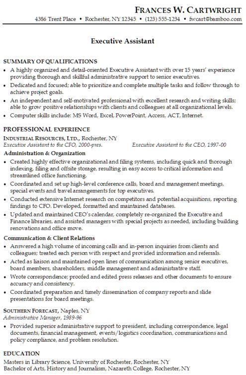 executive assistant resume skills list