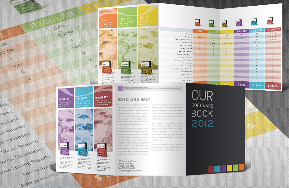Software Product Catalogue Tri-Fold Template with Products and Prices
