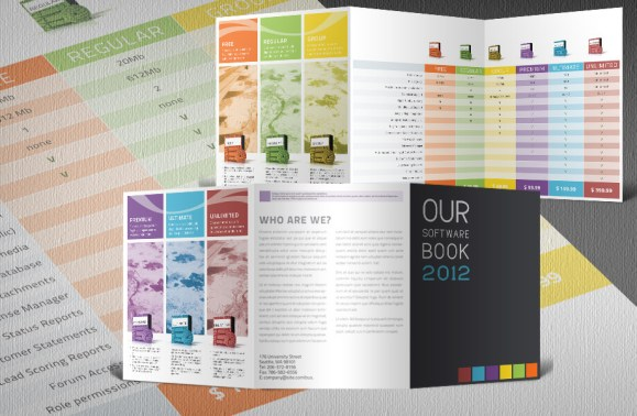 software product catalogue tri fold template with products and prices