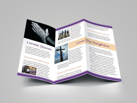 Church bulletin religious brochure for Church bulletin templates indesign