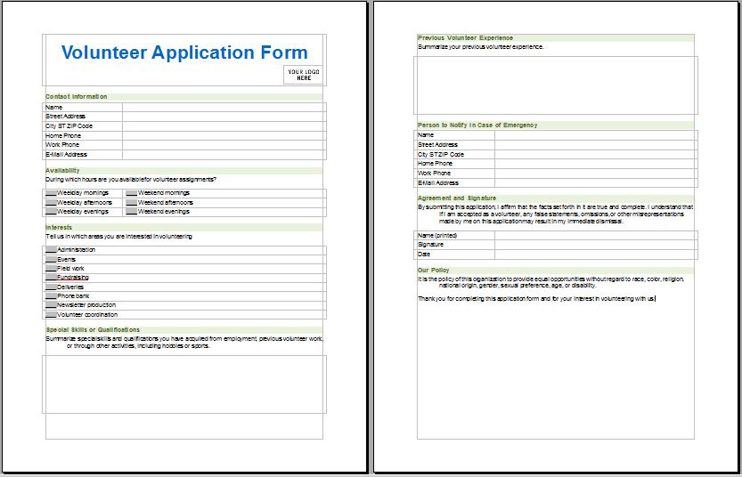 Medical Services Volunteer Application Form Printable Medical