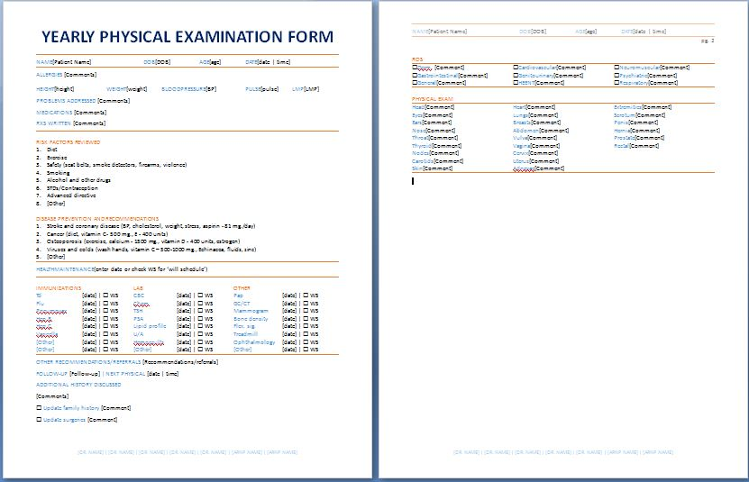 Yearly Physical Examination Form Printable Medical Forms - physical exam form