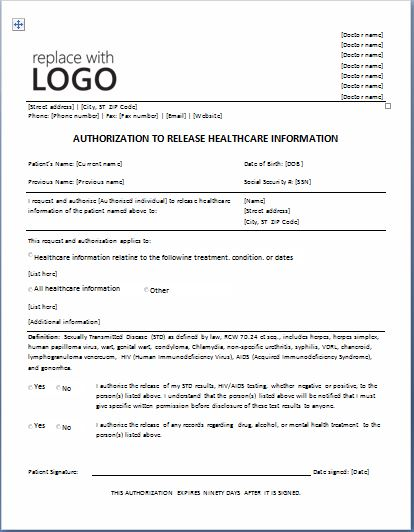 Sample Medical Authorization Form Templates Printable Medical - medical release of information form template