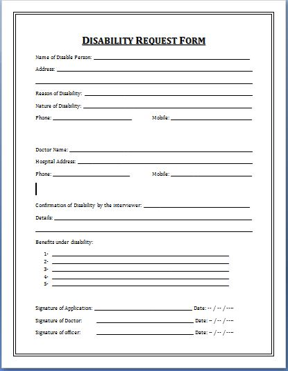 Sample Disability Application Forms Template Printable Medical - application forms template