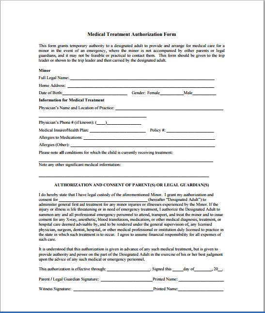 Sample Child Consent Forms Templates Printable Medical Forms