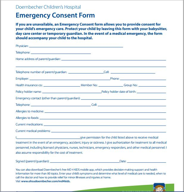 Sample Medical Consent Form Printable Medical Forms, Letters  Sheets