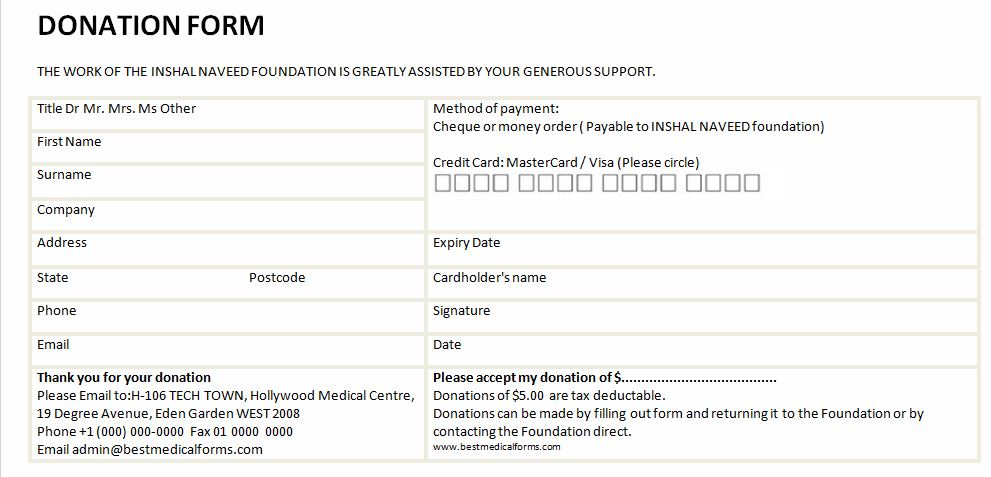 Sample Free Donation Form Printable Medical Forms, Letters \ Sheets - medical form in pdf