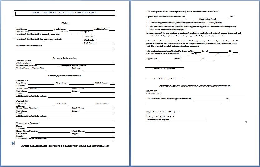 Sample Medical Consent Form Example Short Form Consent Chop - medical consent form
