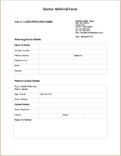 Doctor Referral Form Templates Printable Medical Forms, Letters
