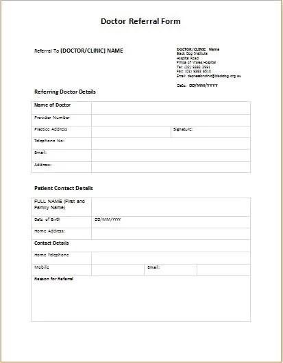 referral forms sample - Maggilocustdesign - office referral form