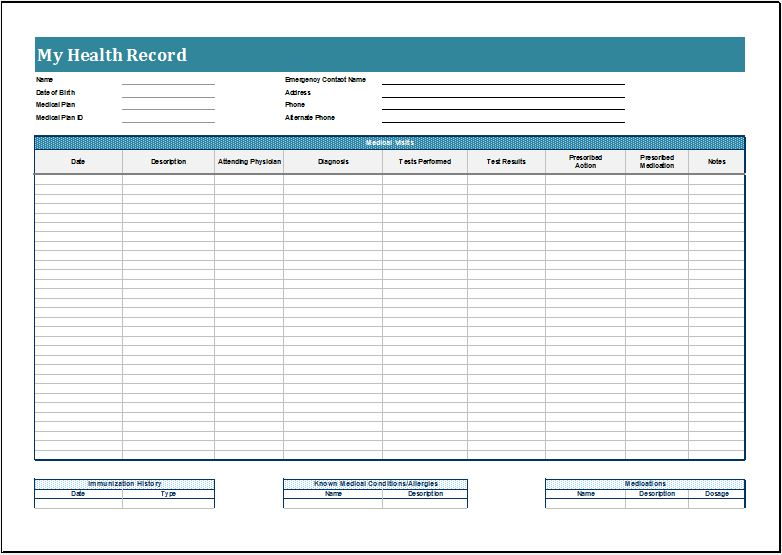 free personal health record template