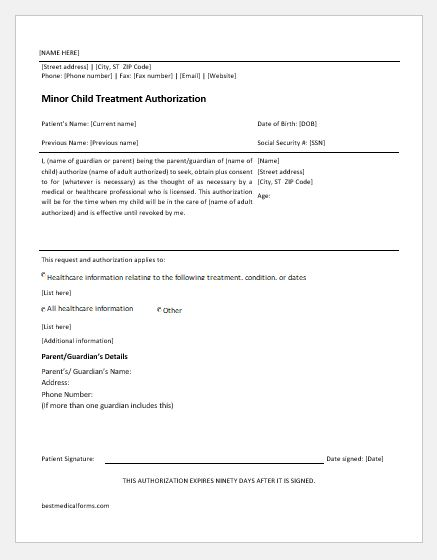 Child Medical Consent Form Medical Consent Form Medical Consent - child medical consent form