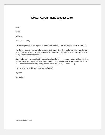 5 Doctor Appointment Letters for All Situations Printable Medical