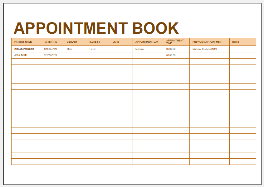 appointment book templates