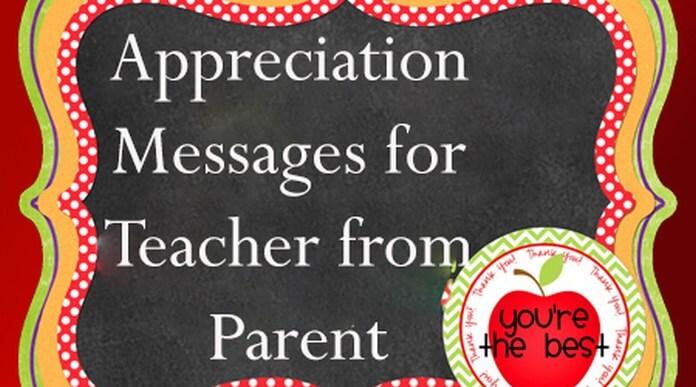 Appreciation Messages for Teacher from Parent