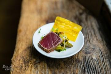 "Jerk Seared Ahi Tuna"", Charred corn-compressed watermelon salad ..."
