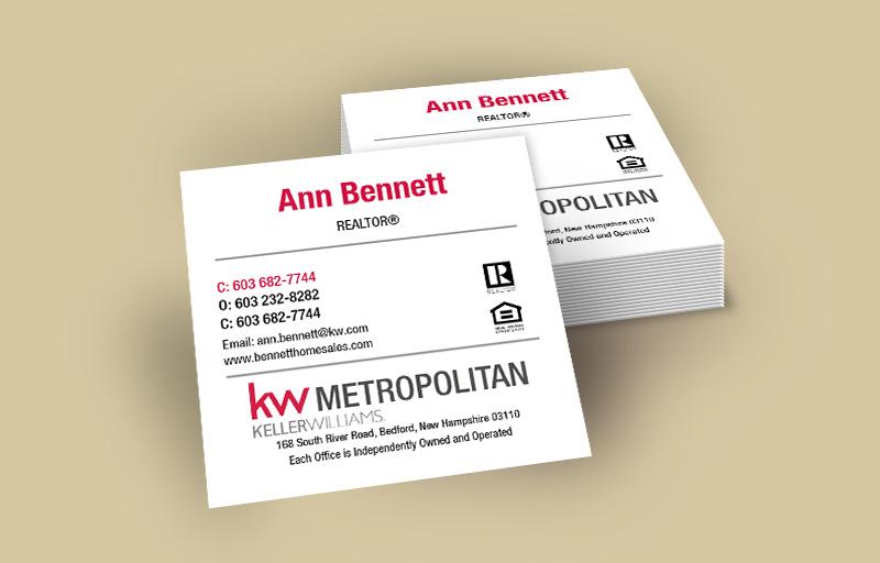 Keller Williams Square Business Cards, Approved Vendor, Online